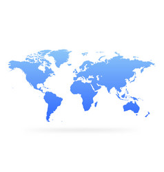 blue gradient world map blank globe vector image