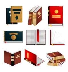 Books icons set knowledge concept vector image vector image