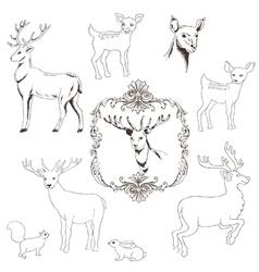 Deer Christmas Set vector image