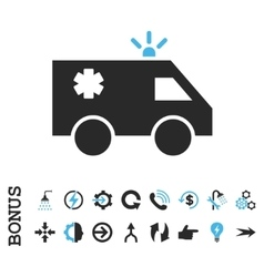 Emergency Car Flat Icon With Bonus vector image