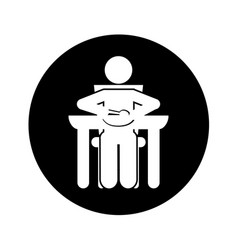 Person eating silhouette icon vector