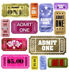 set of vintage and modern ticket admit one eps 8 vector image