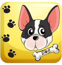Dog head on badge vector image