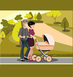mom and dad are walking with baby vector image