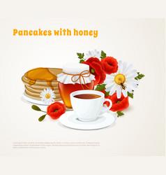 pancakes with honey composition vector image vector image