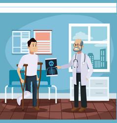 patient at doctors office cartoon vector image