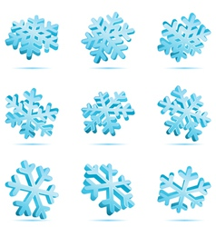 set 3d blue glossy snowflake vector image vector image