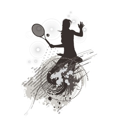 tennis girl on stain background vector image