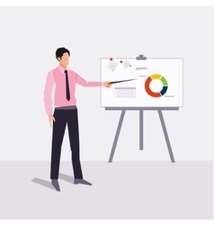 businessman presenting on paperboard and handle vector image vector image