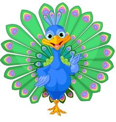 Cartoon peacock vector image
