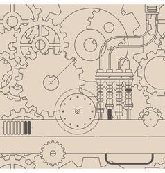 horizontal line steampunk gear seamless pattern vector image