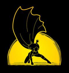 strong woman superhero landing powerful action vector image vector image