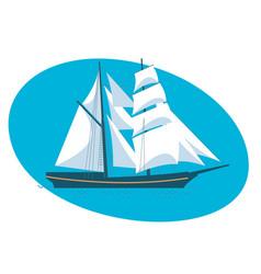 a beautiful modern sailboat frigate vector image