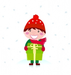 cute christmas boy with gift vector image vector image