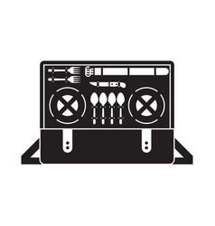 portable picnic bag hamper icon vector image vector image