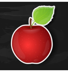 Red apple isolated on black background vector image vector image