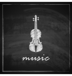 vintage with the violin on blackboard background vector image vector image