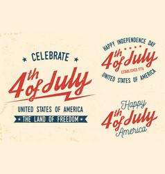 4th july design in retro style vector image