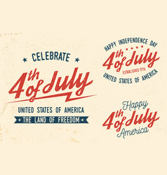 4th of july design in retro style vector image
