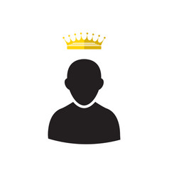 Admin with gold crown icon vector