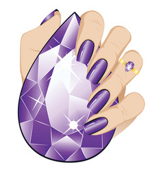 Amethyst ring on a hand vector