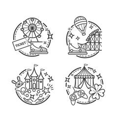 Amusement park outline icons vector