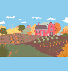autumn farm landscape field crops nature vector image