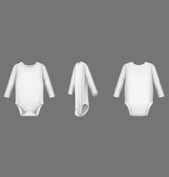 baby body white bodysuit or romper mockup set vector image