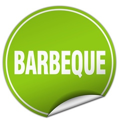 barbeque round green sticker isolated on white vector image