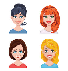 beautiful women with different hairstyles vector image