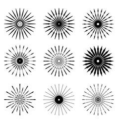 big set of retro sun burst shapes vintage logo vector image