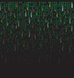 binary code green and dark background with vector image