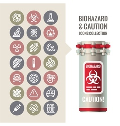 Biohazard and Caution Icons Collection vector image