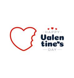 bitten love valentine day card bite heart red vector image