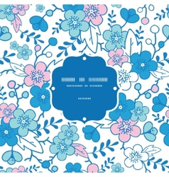 Blue and pink kimono blossoms frame vector
