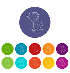 brooding monkey icons set color vector image