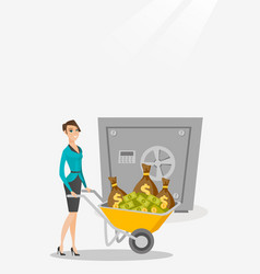 Business woman depositing money in bank in safe vector