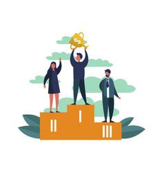 businessman on sport pedestal vector image