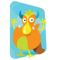 Cartoon monster cute and funny looking broad vector