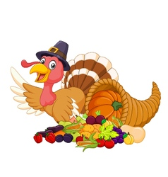Cartoon turkey with horn of plenty isolated vector image