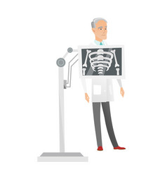 Caucasian roentgenologist during x ray procedure vector