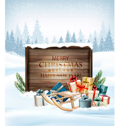 christmas background with a retro wooden sign vector image