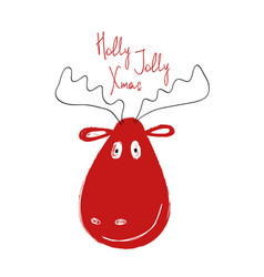 christmas greeting card with funny deer vector image