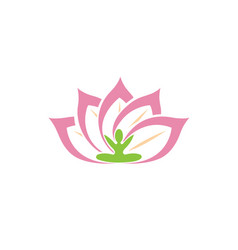 creative lotus body plant logo vector image