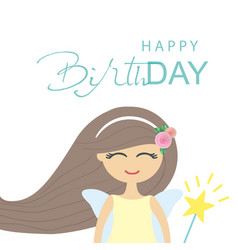 Cute fairy girl birthday card template vector