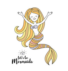 Cute little mermaid under the sea vector