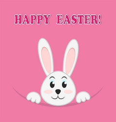 easter rabbit on pink background greeting happy vector image