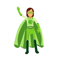 ecological superhero woman standing and waving his vector image