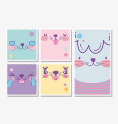 emojis kawaii cartoon faces animal set vector image
