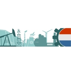 Energy and Power icons set Netherlands flag vector image